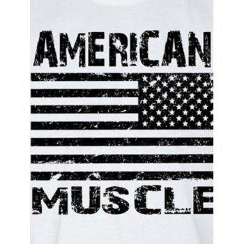 Workout Muscle Patriotic American Flag Tank Top - WHITE M