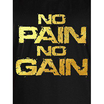 No Pain No Gain Bodybuilding Tank Top - BLACK/GOLDEN BLACK/GOLDEN