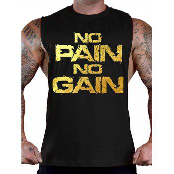 No Pain No Gain Bodybuilding Tank Top - BLACK AND GOLDEN BLACK/GOLDEN