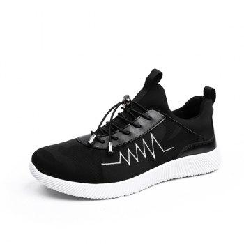 Print String Breathable Athletic Shoes - BLACK 41