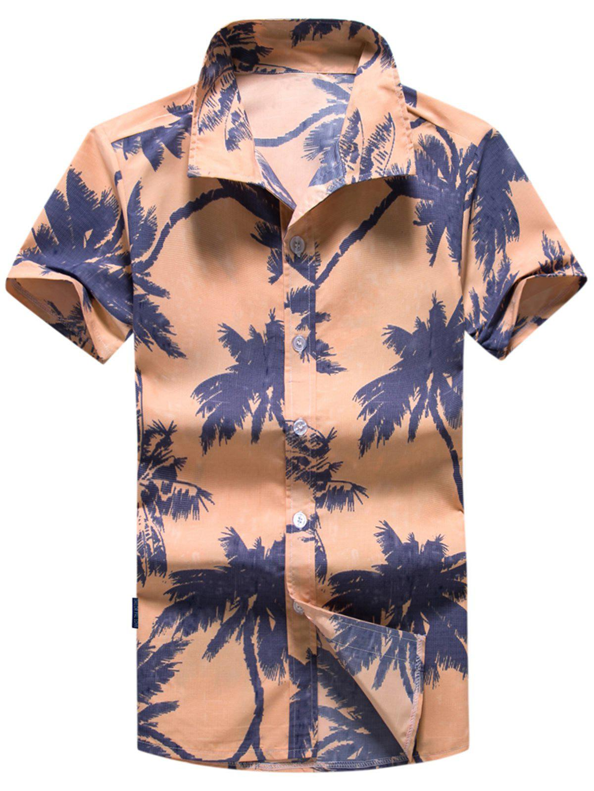 Coconut Tree Printed Short Sleeve Hawaiian Shirt - ORANGE L