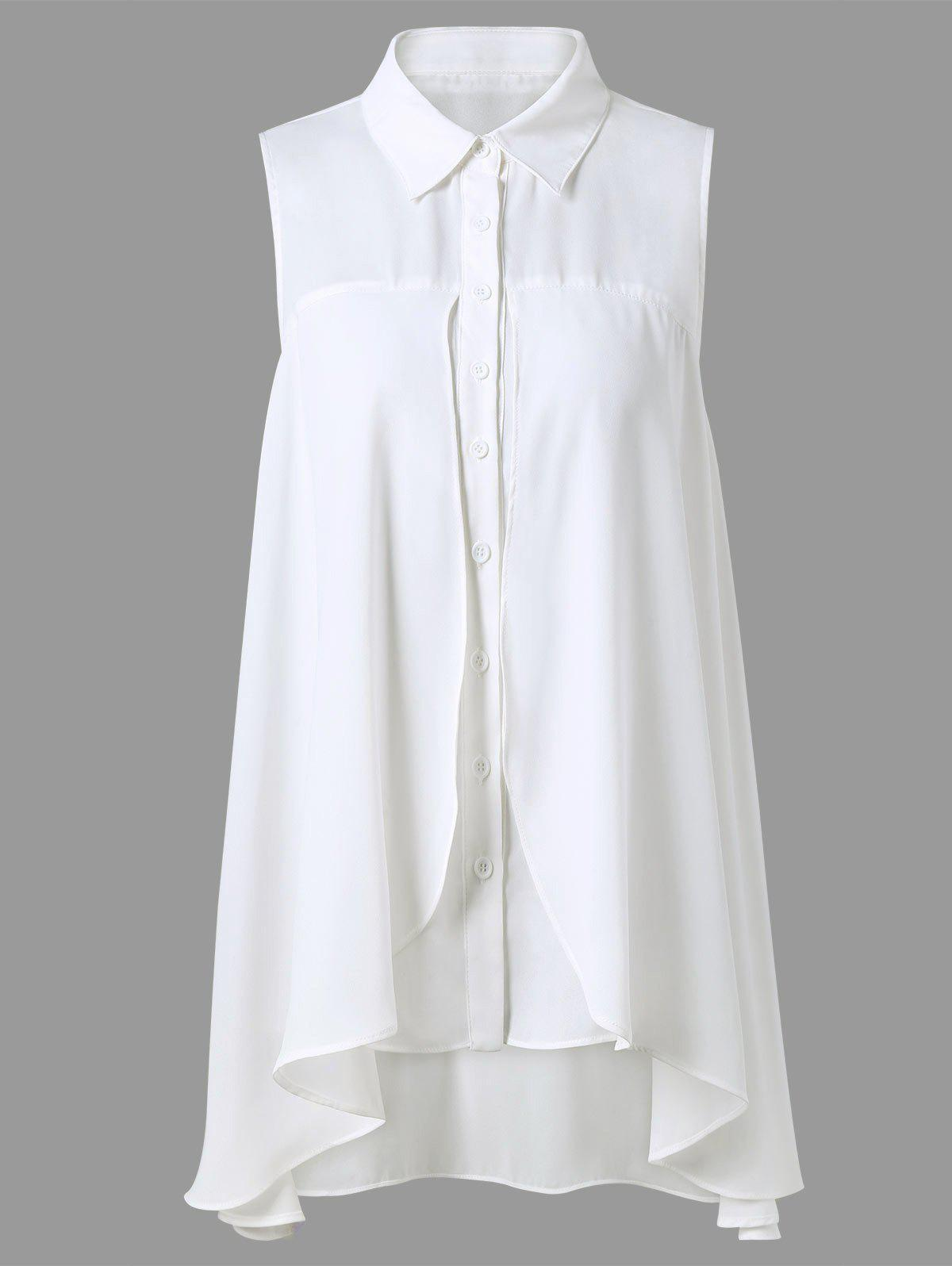 Asymmetrical Button Up Sleeveless Blouse button up check blouse