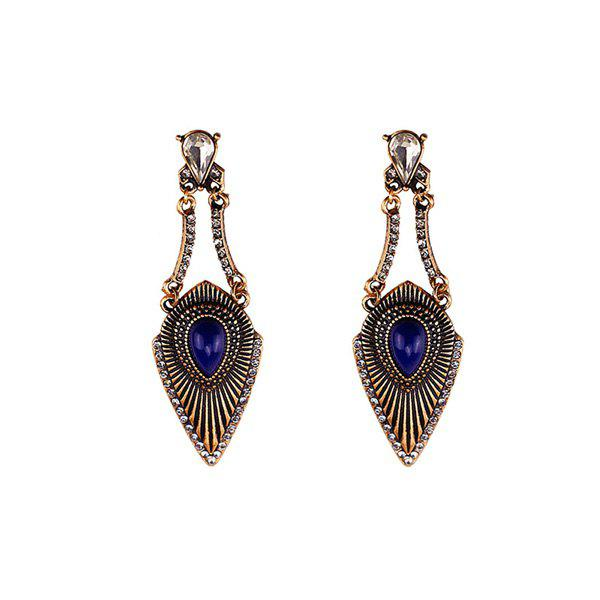 Rhinestone Faux Gem Gypsy Earrings - SAPPHIRE BLUE