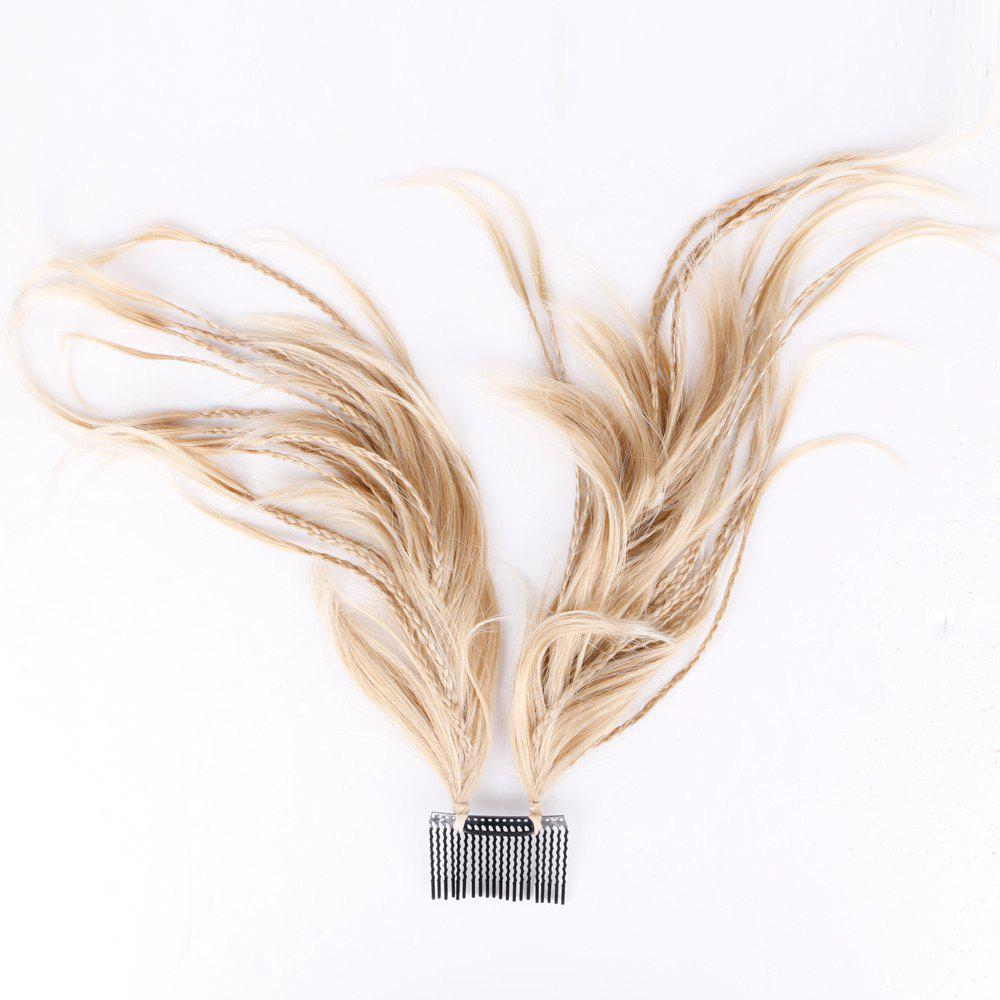 Inserted Micro Braids Short Straight Hair Pieces - LIGHT GOLD