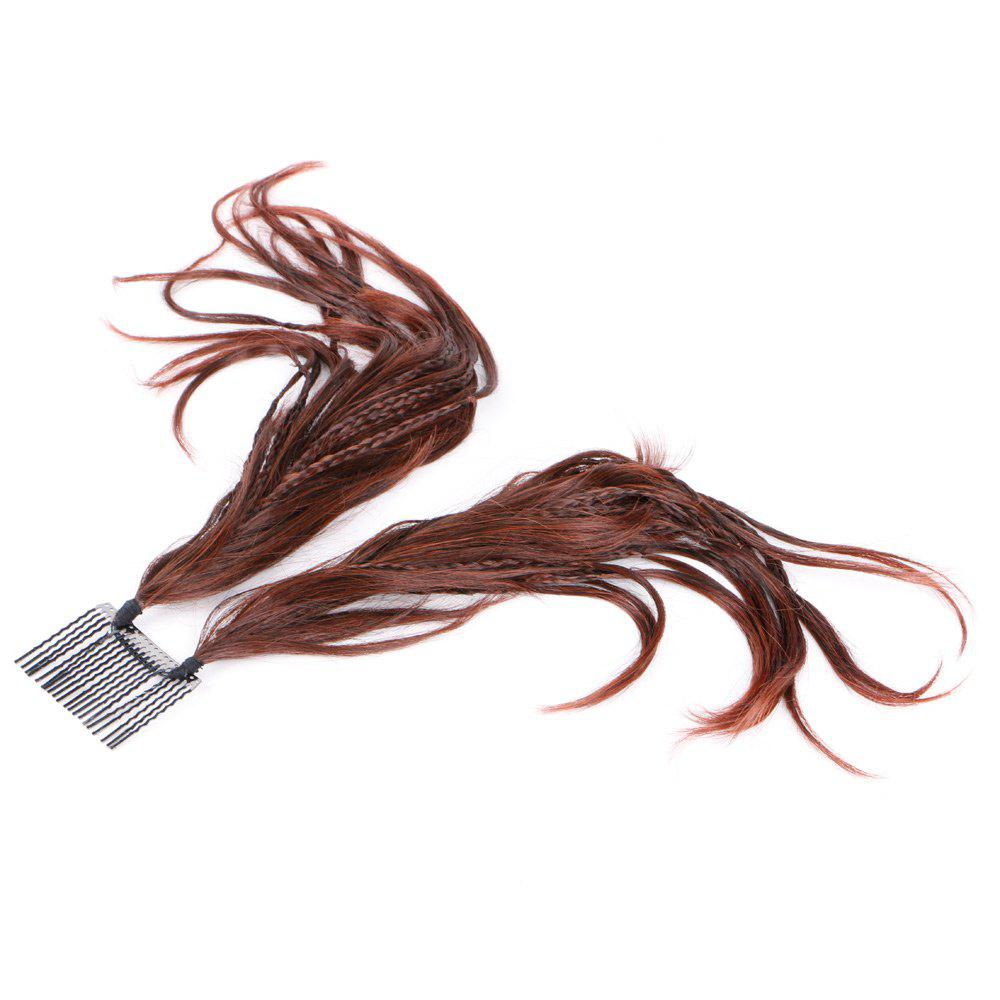 Inserted Micro Braids Short Straight Hair Pieces - DARK AUBURN