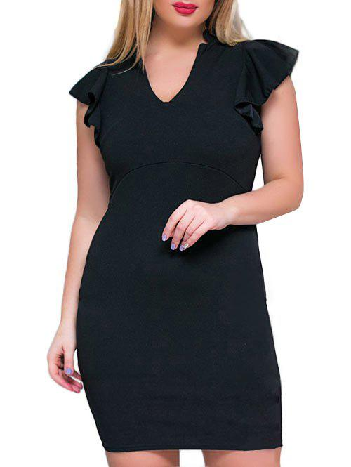 Plus Size V Neck Ruffle Sheath Dress - BLACK 3XL