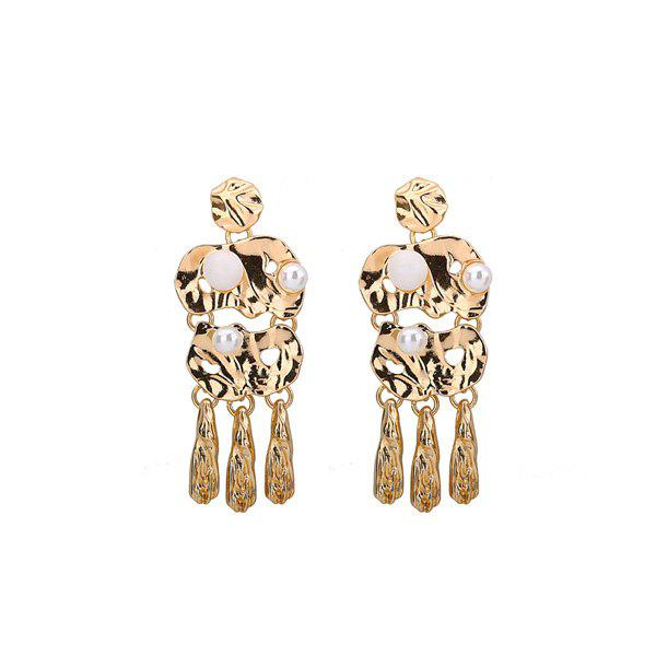 Statement Artificial Pearl Alloy Earrings - GOLDEN