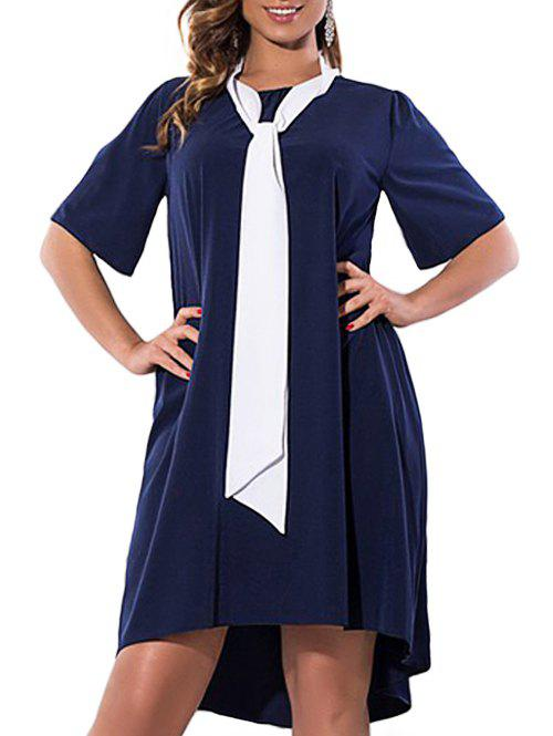 Plus Size High Low Dress with Pussy Bow Scarf - PURPLISH BLUE 2XL