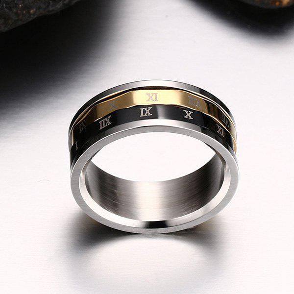 Engraved Roman Numeral Fidget Finger Ring - SILVER 11
