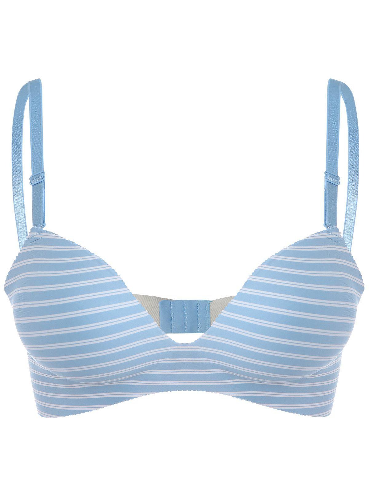 Seamless Striped Push Up Bra - LIGHT BLUE 70A