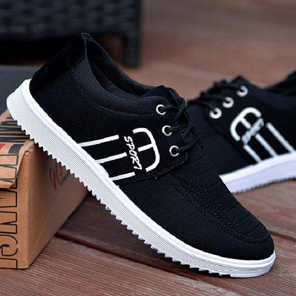 Stitching Tie Up Breathable Casual Shoes - BLACK 40