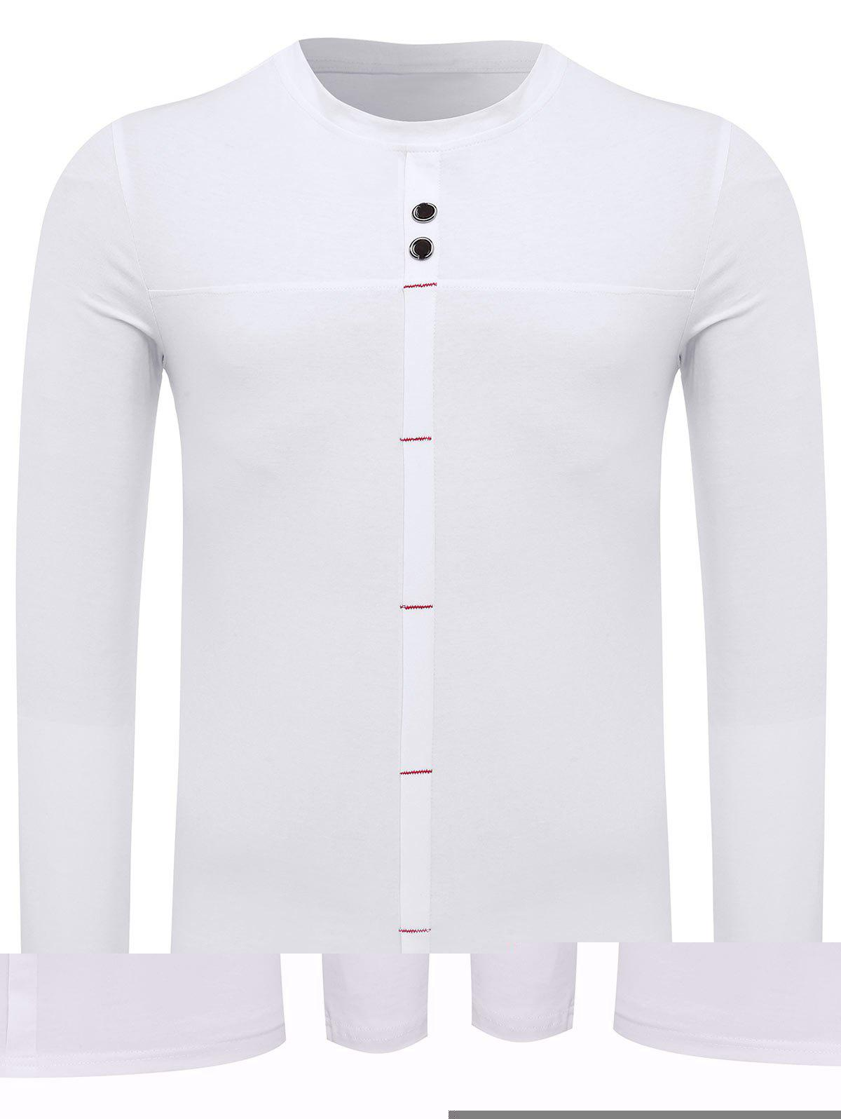 Crew Neck Long Sleeve Button Embellished Tee crew neck button embellished tee