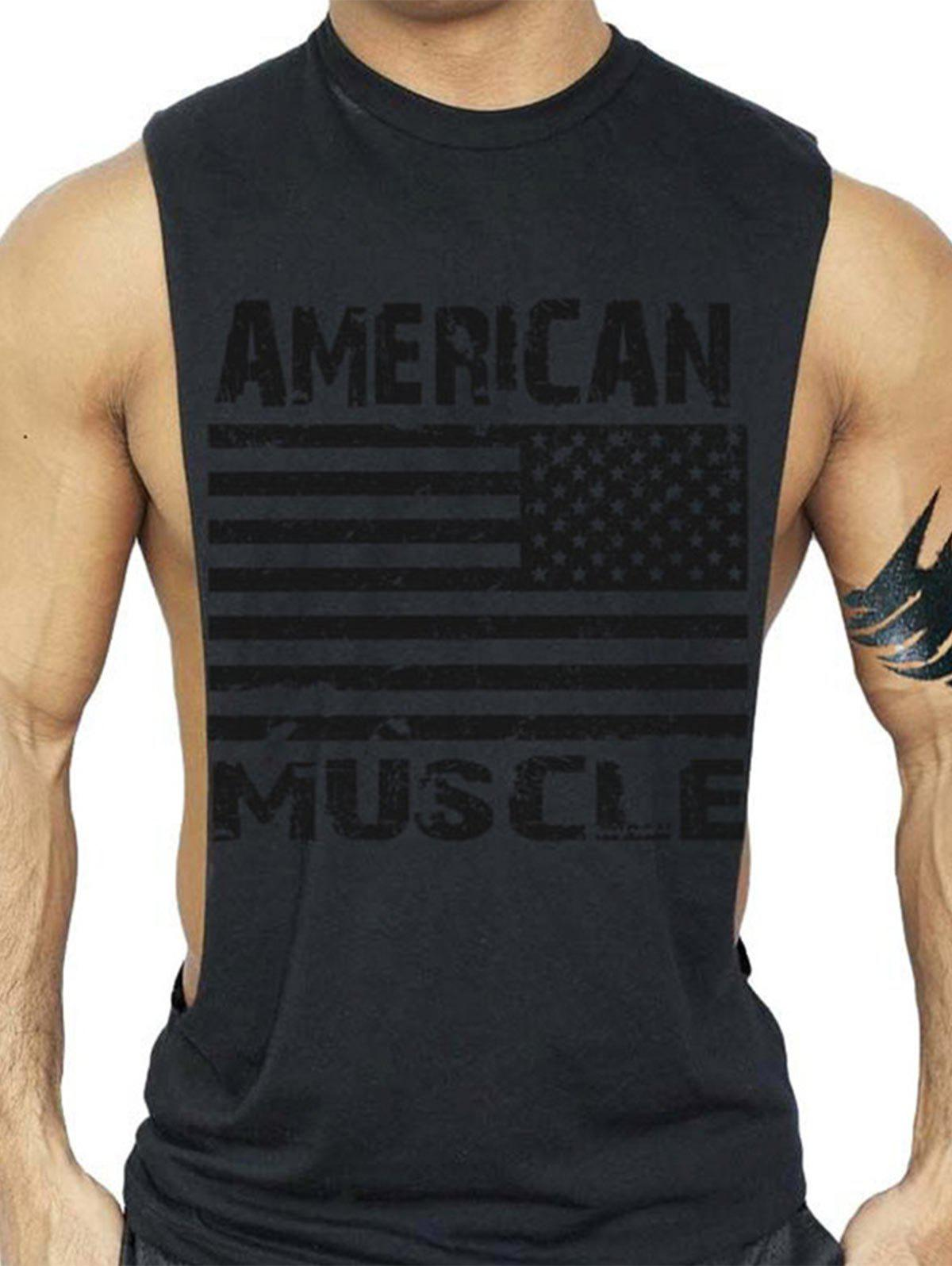 Workout Muscle Patriotic American Flag Tank Top - BLACK 2XL