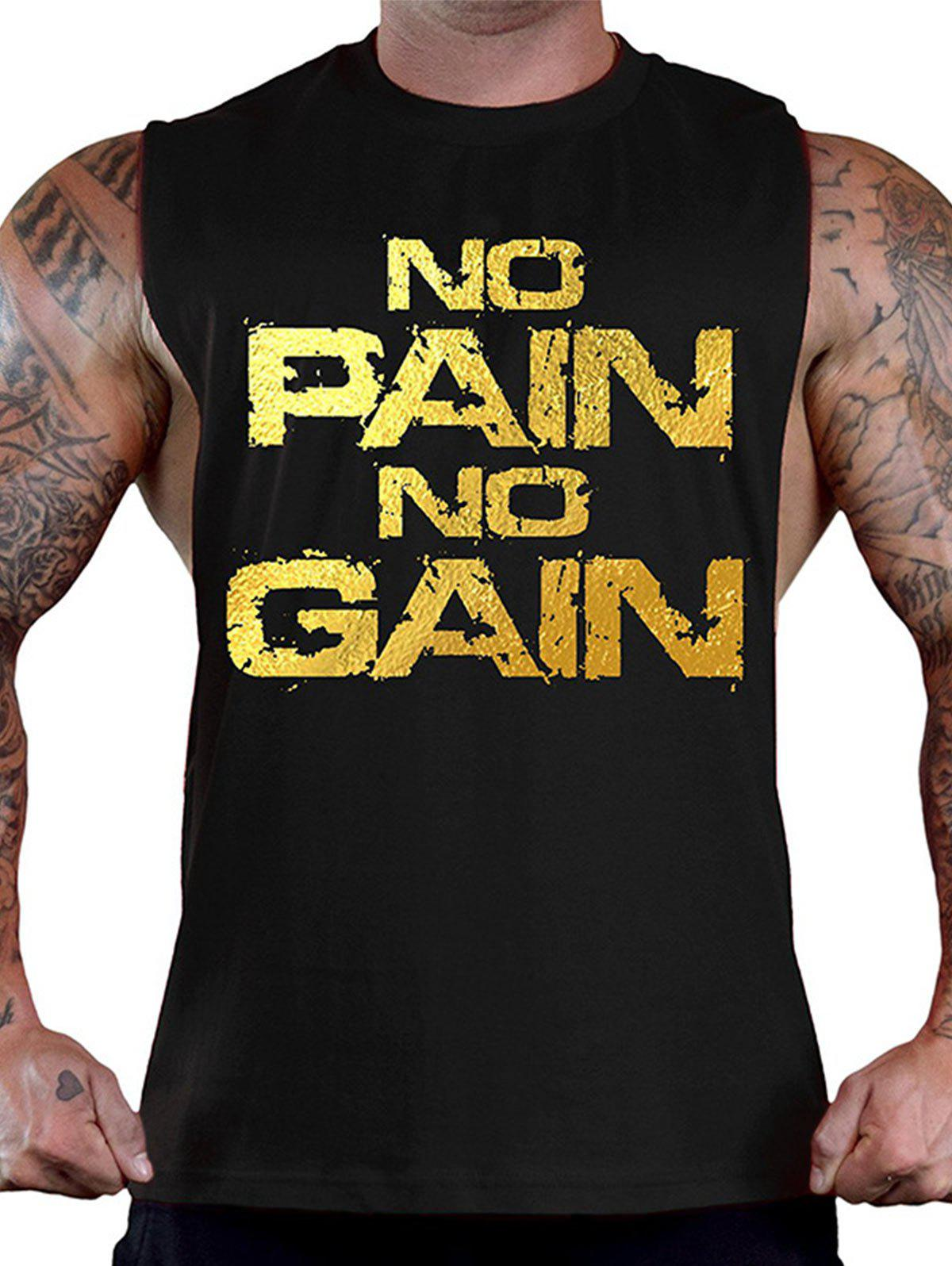 No Pain No Gain Bodybuilding Tank Top - BLACK/GOLDEN L