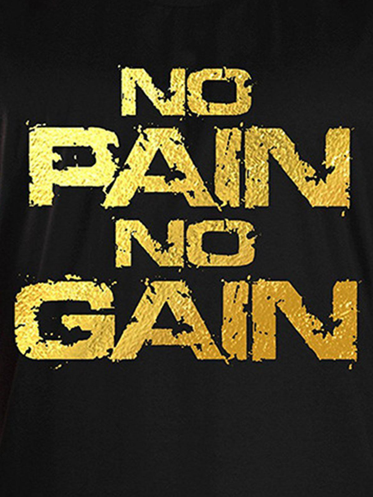 No Pain No Gain Bodybuilding Tank Top - BLACK/GOLDEN XL