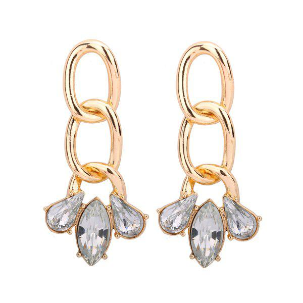 Alloy Rhinestone Teardrop Oval Earrings floral rhinestone teardrop earrings