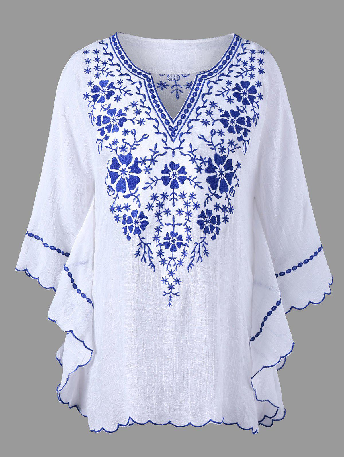 Scalloped Hem Embroidered Plus Size Blouse - WHITE XL