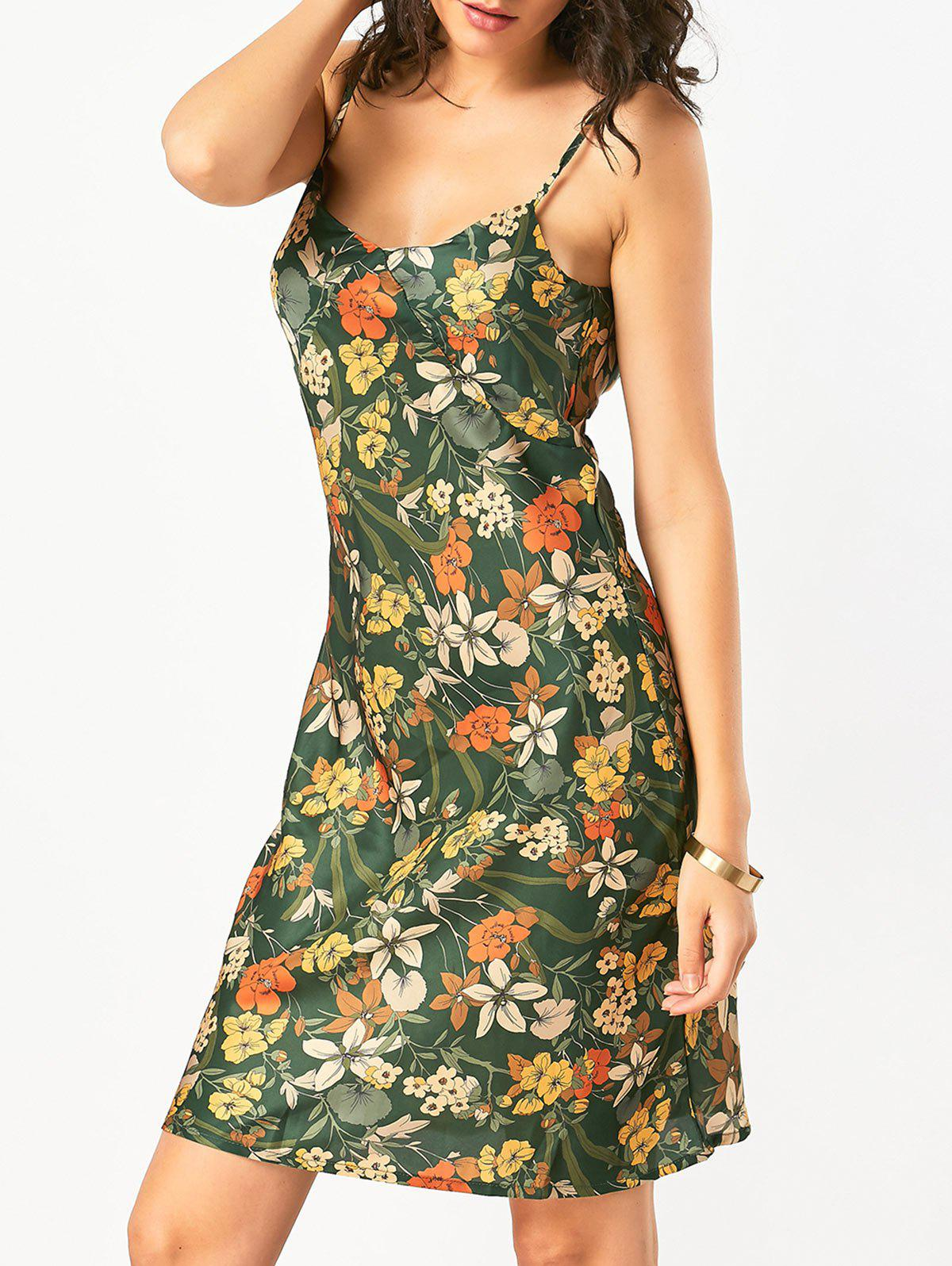 Open Back Slip Hawaiian Print Dress 215079101