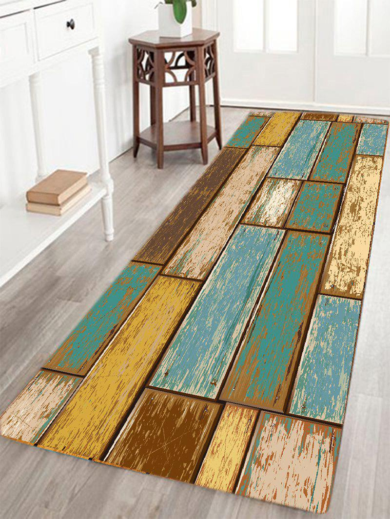 Vintage Wood Floor Pattern Water Absorption Area Rug Colormix W16 Inch L47