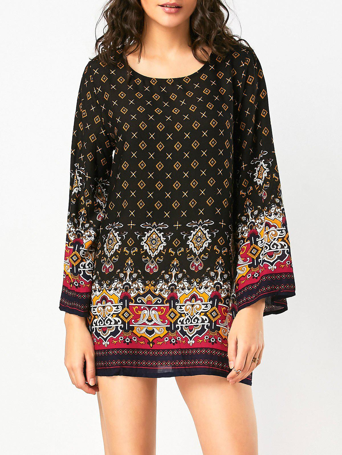 Long Sleeve Bohemian Print Tunic Dress - BLACK XL