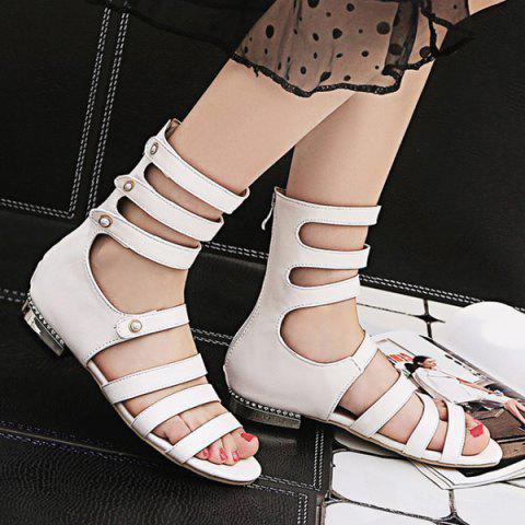 Strappy High Top Flat Sandals - Blanc 37