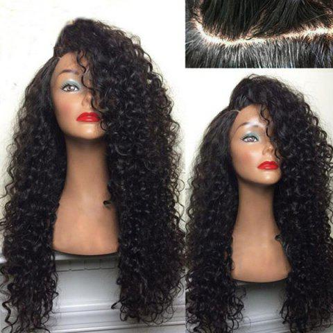 Long Shaggy Deep Side Parting Kinky Curly Synthetic Wig - BLACK