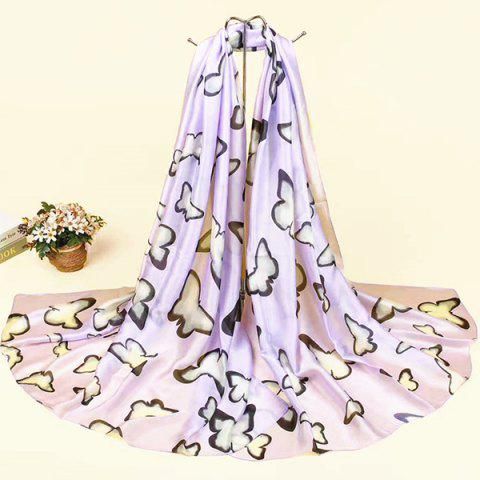 Smooth Imitation Silk Butterfly Printed Scarf - SUEDE ROSE