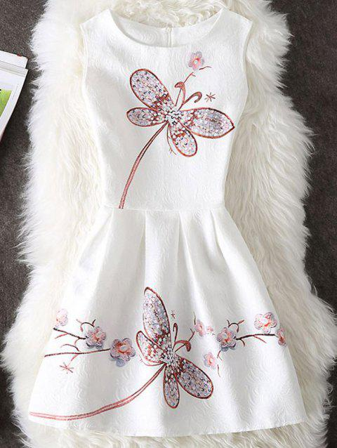Dragonfly Print Sleeveless Short Dress - WHITE M