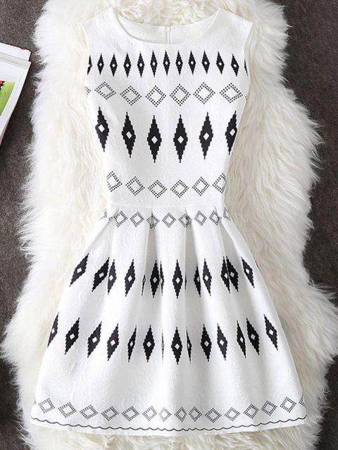 Argyle Print Sleeveless Mini Dress - WHITE L