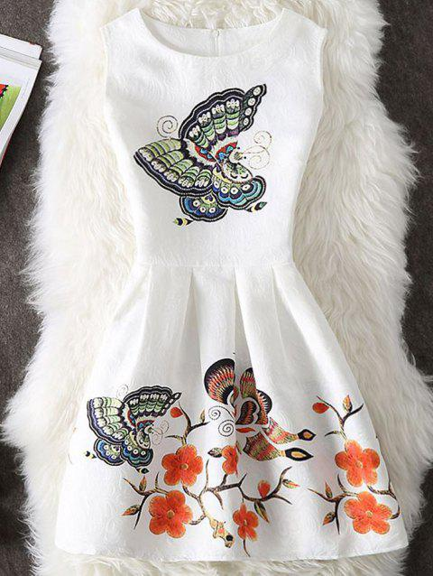 Floral and Butterfly Print Sleeveless Short Dress - WHITE XL