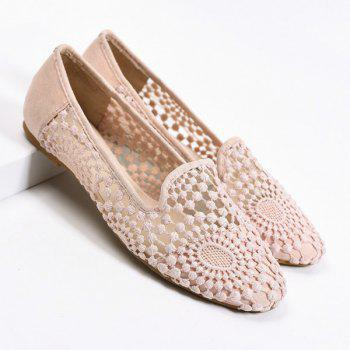Sheer Lace Round Toe Flat Shoes