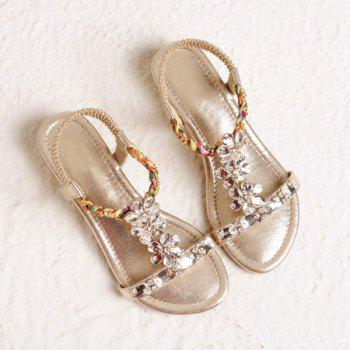 Rhinestones Elastic Faux Leather Sandals
