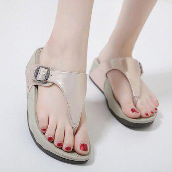 Belt Buckle Wedge Heel Slippers