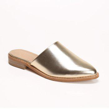 PU Leather Pointed Toe Mules Slides