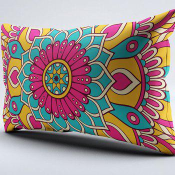 Brushed Fabric Pillow Case with Flower Print - W20 INCH * L36 INCH W20 INCH * L36 INCH