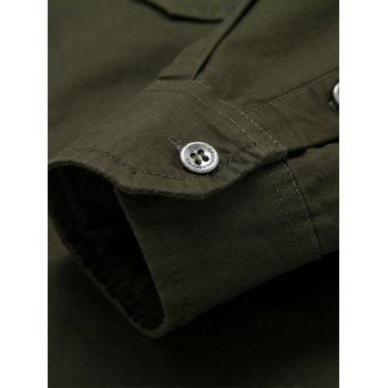 Front Pocket Badge Embroidered Design Military Shirt - ARMY GREEN 2XL