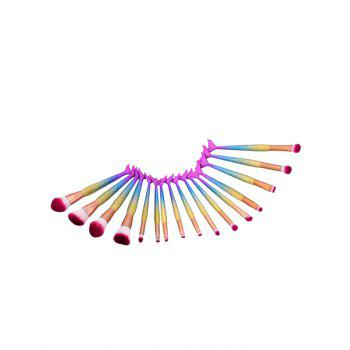 Rainbow Matte Mermaid Tail Makeup Brushes Set - multicolorCOLOR