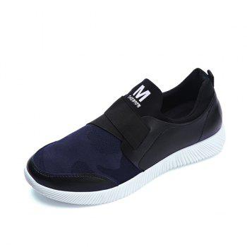Stretch Fabric Printed Elastic Band Casual Shoes - DEEP BLUE 40