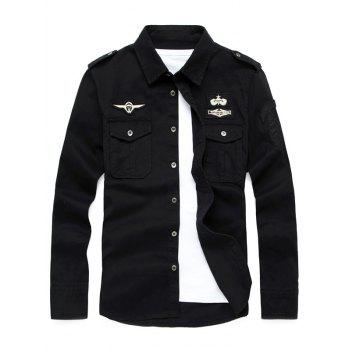 Front Pocket Badge Embroidered Design Military Shirt
