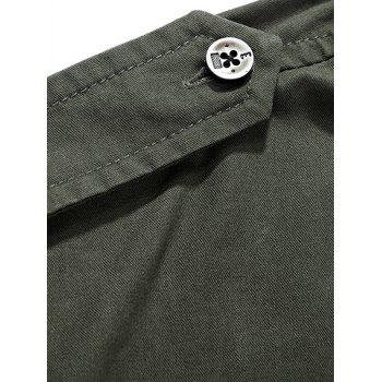 Helicopter Embroidered Logo Design Long Sleeves Shirt - ARMY GREEN XL