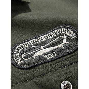 Helicopter Embroidered Logo Design Long Sleeves Shirt - KHAKI KHAKI