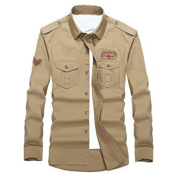 Helicopter Embroidered Logo Design Long Sleeves Shirt - KHAKI L