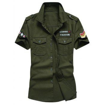 Short Sleeves Embroidered Patch Shirt - ARMY GREEN L