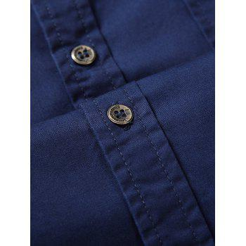 Short Sleeves Embroidered Patch Shirt - L L
