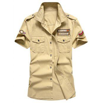 Short Sleeves Embroidered Patch Shirt - KHAKI XL