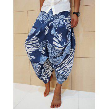Ethnic Geometric Cotton Linen Nine Minutes of Harem Pants