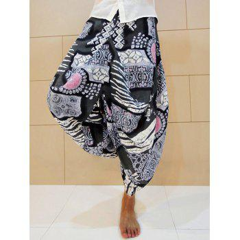Cotton Linen Ethnic Graphic Nine Minutes of Harem Pants