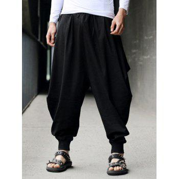 Drawstring Cotton Linen Low-Slung Crotch Harem Pants
