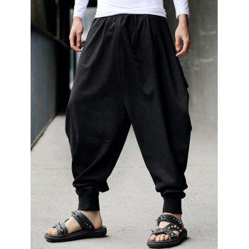 Drawstring Cotton Linen Low-Slung Crotch Harem Pants - BLACK BLACK
