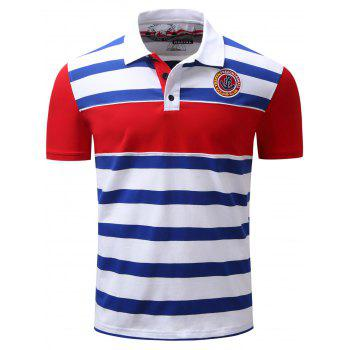 Color Block Panel Anchor Embroidered Stripe Polo T-shirt